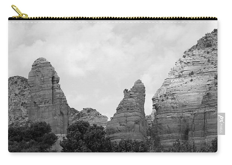 Scenics Carry-all Pouch featuring the photograph Arizona Mountain Red Rock Monochrome by Sassy1902
