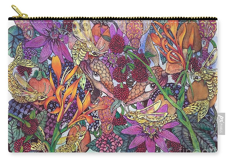 Armidillo Tropical Floral Jungle Passion Flower Squid Bright Bold Carry-all Pouch featuring the drawing Armadillo Dreams by Stephanie Helvin