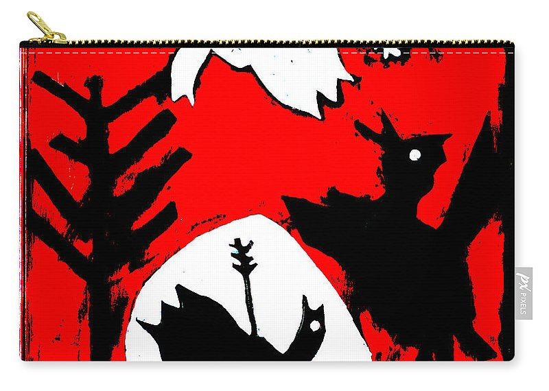 Arrow Carry-all Pouch featuring the digital art Arrow Shot Bird by Edgeworth DotBlog