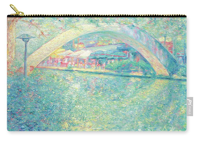 Walking Bridge Carry-all Pouch featuring the painting San Antonio Riverwalk by Felipe Adan Lerma
