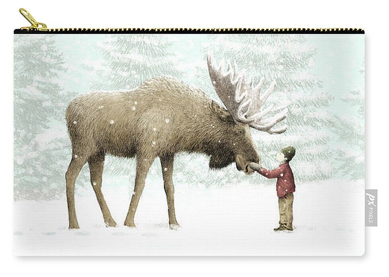 Moose Carry-all Pouch featuring the drawing Winter Moose by Eric Fan
