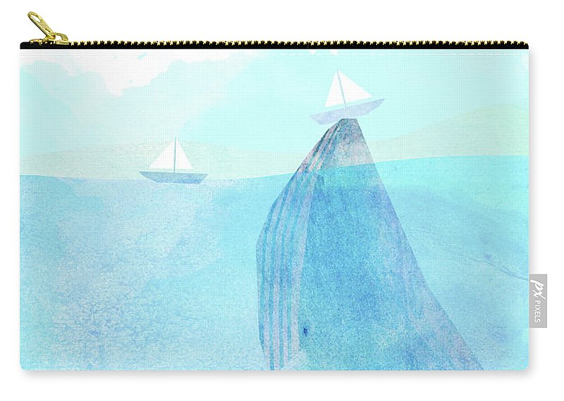 Whale Carry-all Pouch featuring the drawing Lift option by Eric Fan