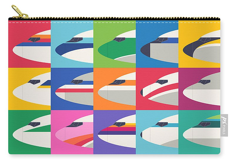 Airline Carry-all Pouch featuring the digital art Airline Livery Minimal by Organic Synthesis