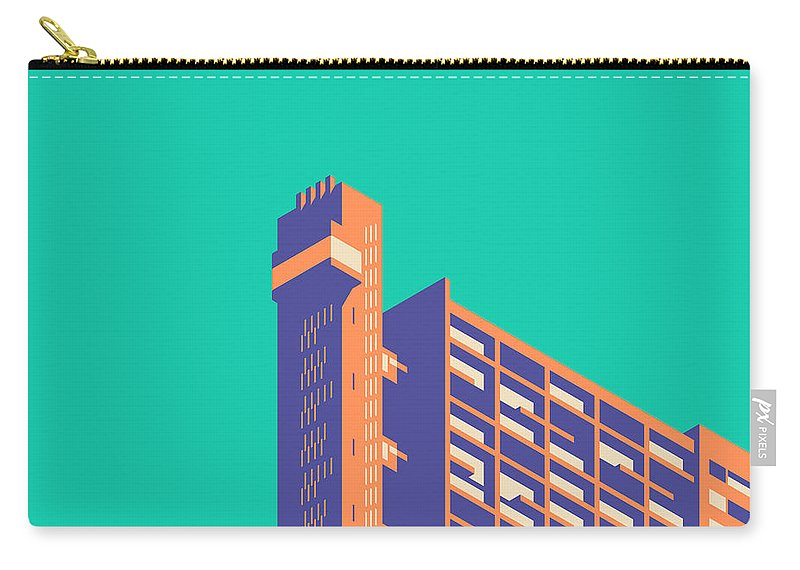 Trellick Carry-all Pouch featuring the digital art Trellick Tower London Brutalist Architecture - Plain Green by Ivan Krpan