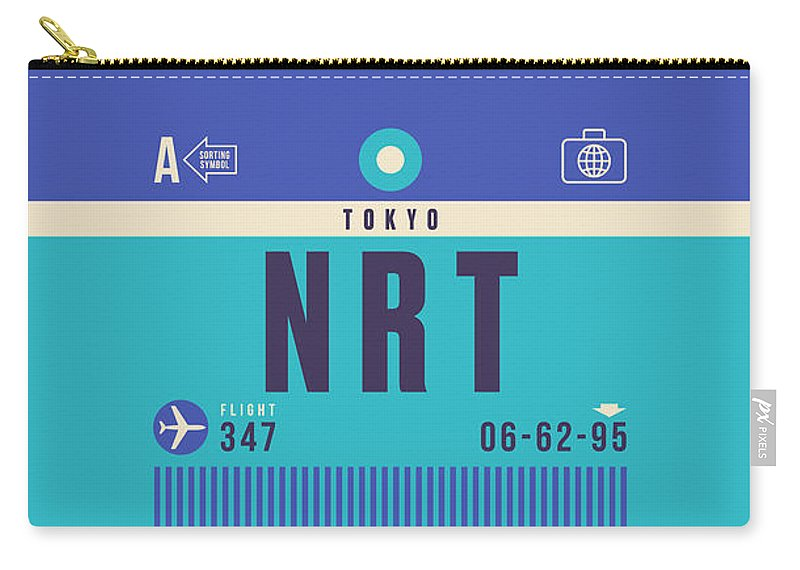 Retro Styled Luggage Tag Design For Tokyo Narita (nrt) International Airport Japan. Carry-all Pouch featuring the digital art Retro Airline Luggage Tag - Nrt Tokyo Narita by Organic Synthesis