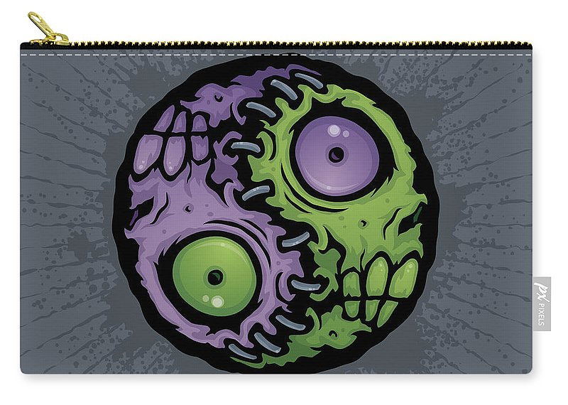 Zombie Carry-all Pouch featuring the digital art Zombie Yin-yang by John Schwegel