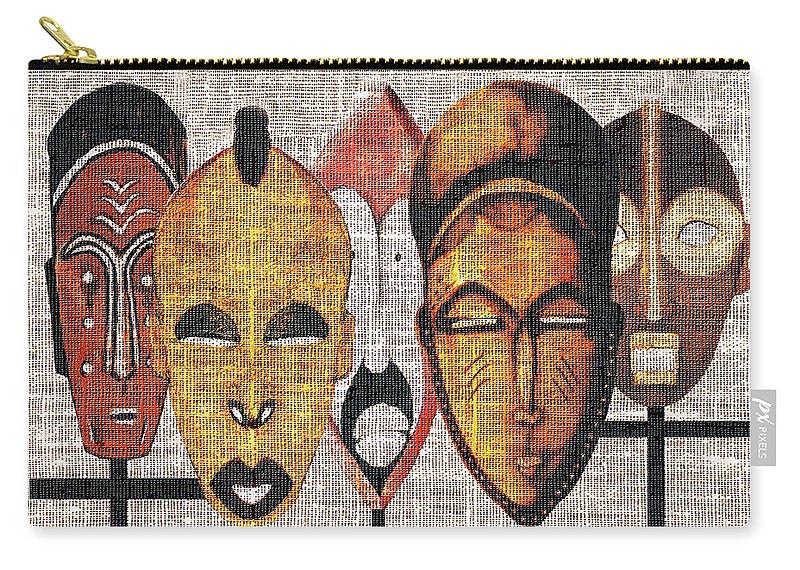 African Masks Carry-all Pouch featuring the digital art Kabila Masks by Regina Wyatt