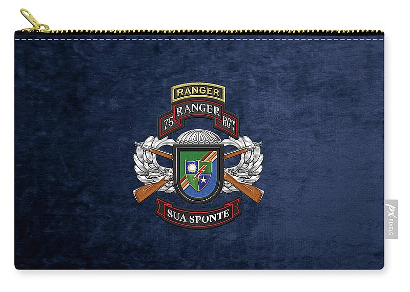 Military Insignia & Heraldry By Serge Averbukh Carry-all Pouch featuring the digital art 75th Ranger Regiment - Army Rangers Special Edition Over Blue Velvet by Serge Averbukh