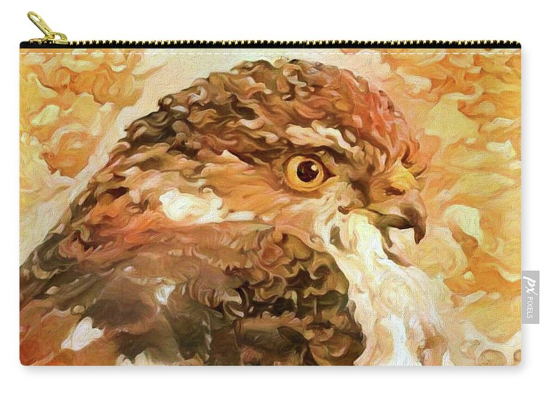 Hawk Carry-all Pouch featuring the digital art Prince Of The Skies by Bunny Clarke