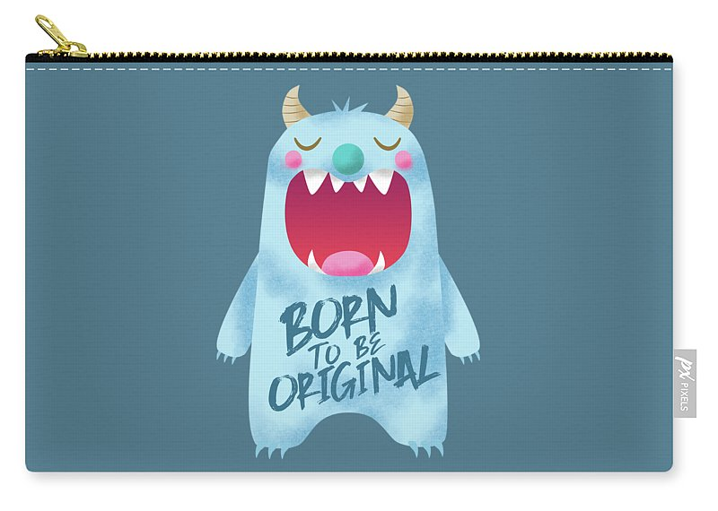 Monster Carry-all Pouch featuring the digital art Born To Be Original Blue Monster by NamiBear