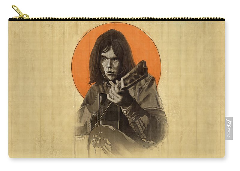 Neil Young Carry-all Pouch featuring the digital art Neil Young Harvest by Andre Koekemoer