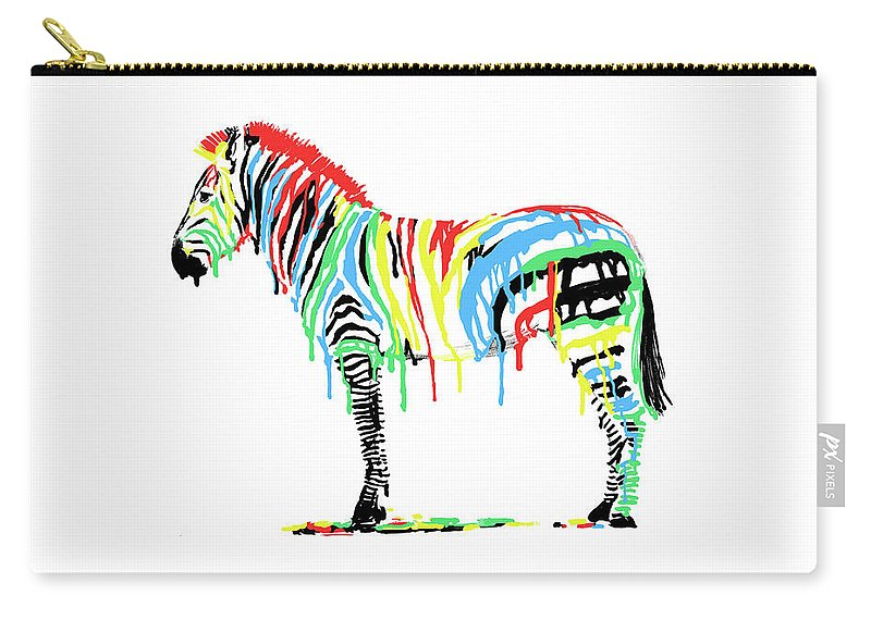 Zebra Carry-all Pouch featuring the drawing Fresh Paint by Eric Fan