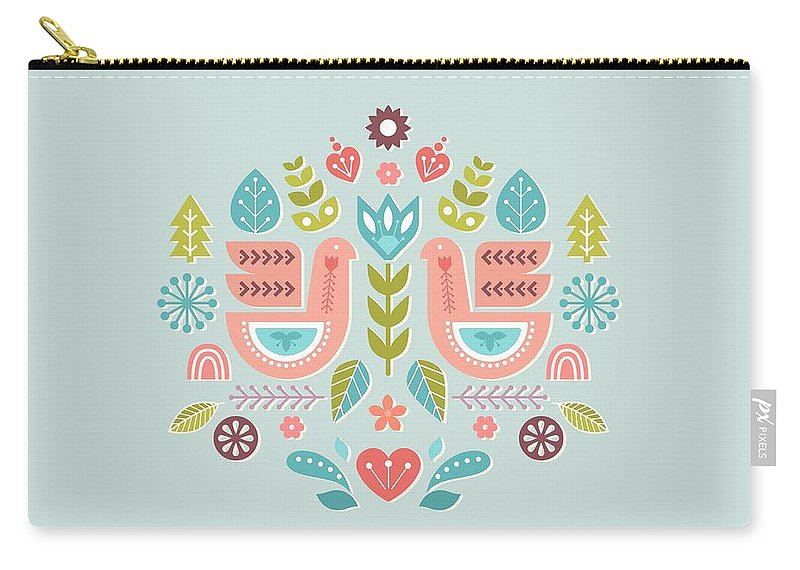 Simple And Sweet Songs Scandinavian Folk Art Design Carry All Pouch