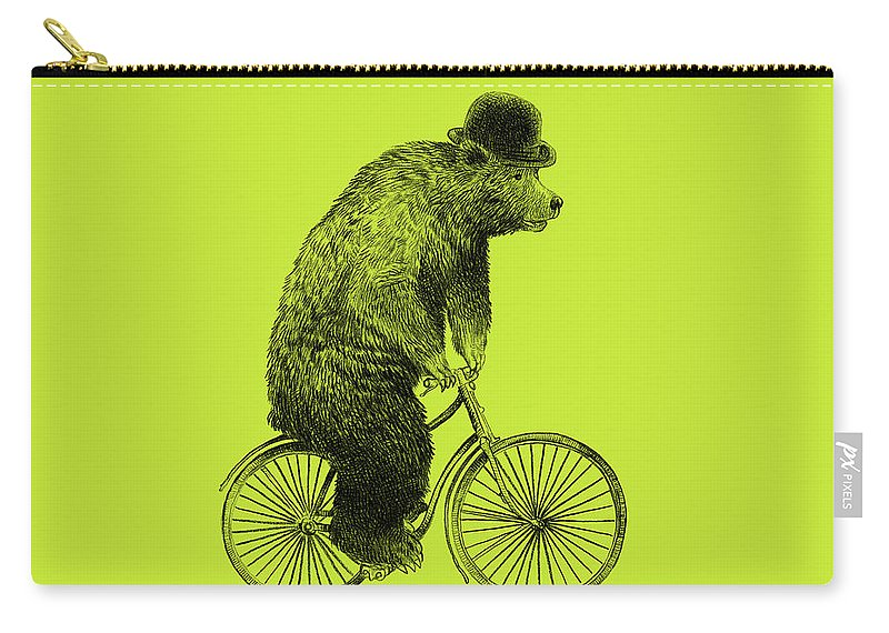 Bear Carry-all Pouch featuring the drawing Bears on Bicycles - Lime by Eric Fan