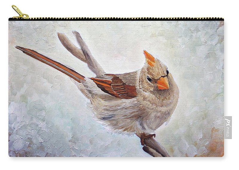 Cardinal Carry-all Pouch featuring the painting Red Bill Beauty by Angeles M Pomata