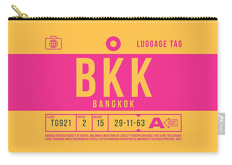 Airline Carry-all Pouch featuring the digital art Retro Airline Luggage Tag 2.0 - Bkk Bangkok Thailand by Ivan Krpan