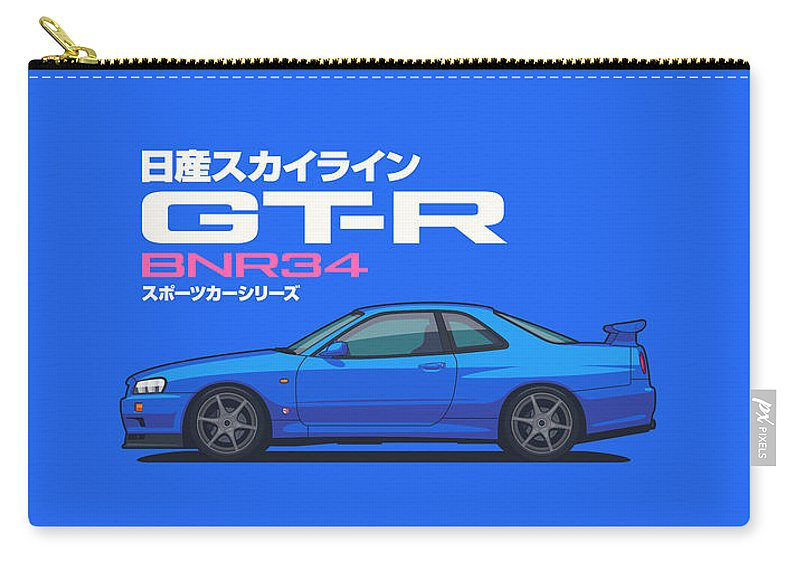Gt-r Carry-all Pouch featuring the digital art R34 Gt-r - Landscape Blue by Ivan Krpan