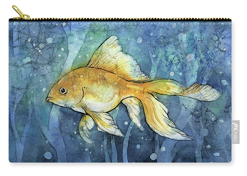Goldfish Carry-all Pouch featuring the painting Golfish by Olga Shvartsur