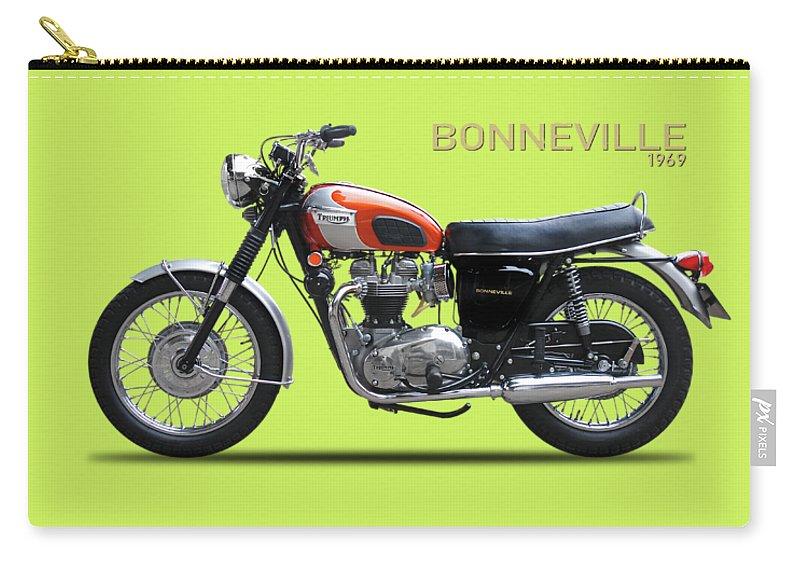 Triumph Bonneville 1969 Carry-all Pouch featuring the photograph Triumph Bonneville 1969 by Mark Rogan