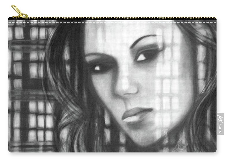 Portrait Carry-all Pouch featuring the drawing Ashlyn by Lee Wilde-Portraits