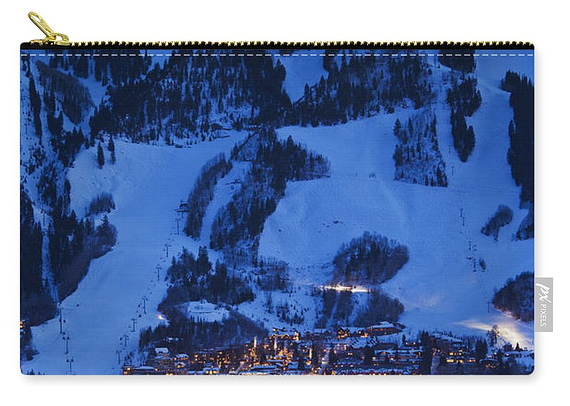 Aspen Carry-all Pouch featuring the photograph Aspen Mountain, Winter by Walter Bibikow