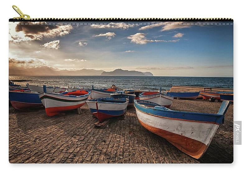 Sicily Carry-all Pouch featuring the photograph Aspra Boatyard by Fabio Montalto