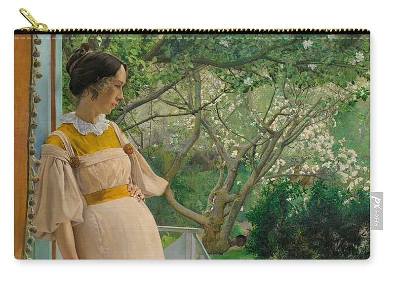 19th Century Art Carry-all Pouch featuring the painting At The French Windows. The Artist's Wife by Laurits Andersen Ring