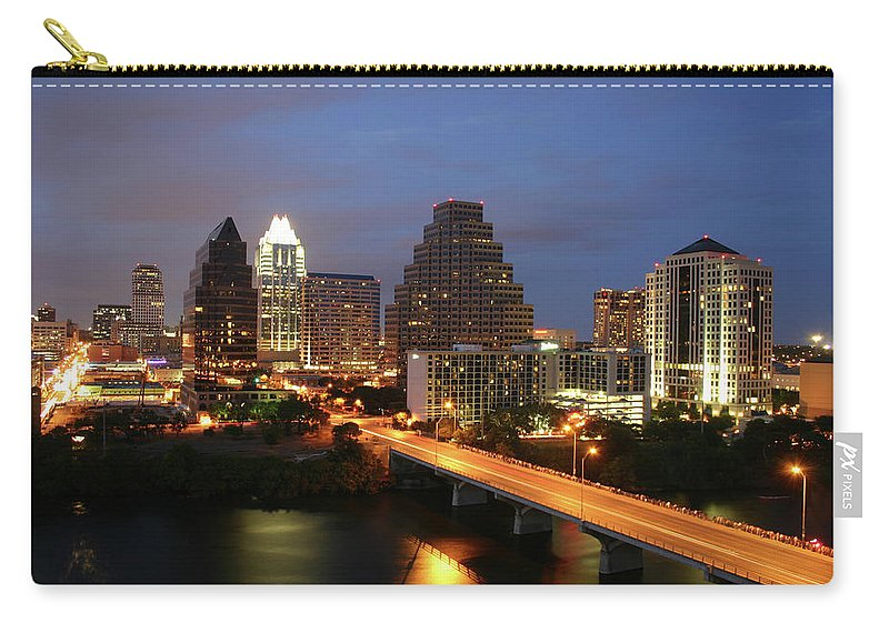 Water's Edge Carry-all Pouch featuring the photograph Austin Texas Skyline - Unique by Xjben