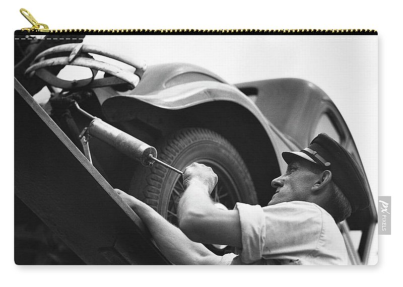 Working Carry-all Pouch featuring the photograph Auto Mechanic Vintage by George Marks