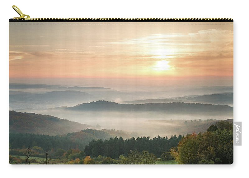 Scenics Carry-all Pouch featuring the photograph Autumn Foggy Sunrise by Marcoschmidt.net