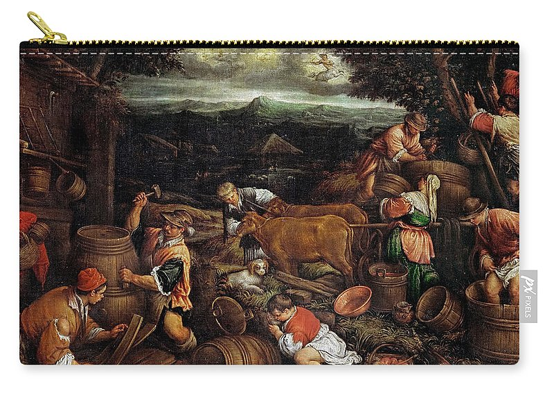 Francesco Bassano Ii (1549-1592) Carry-all Pouch featuring the painting Autumn by Francesco Bassano II