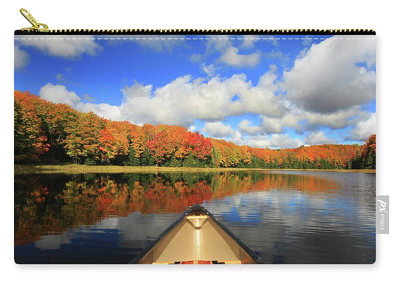 Scenics Carry-all Pouch featuring the photograph Autumn In A Canoe by Photos By Michael Crowley