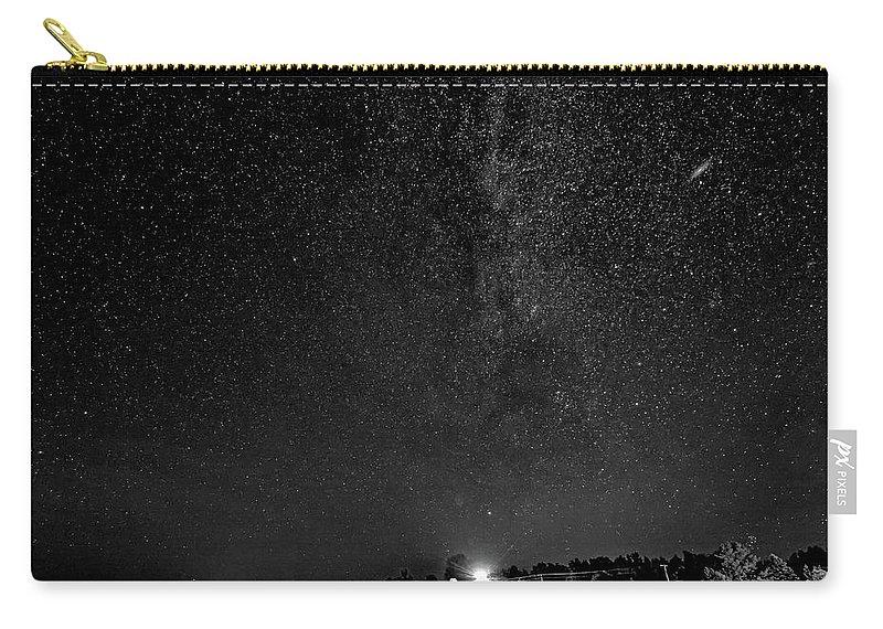 Steve Harrington Carry-all Pouch featuring the photograph Autumn Night - Sauble Beach - Two Galaxies Bw by Steve Harrington
