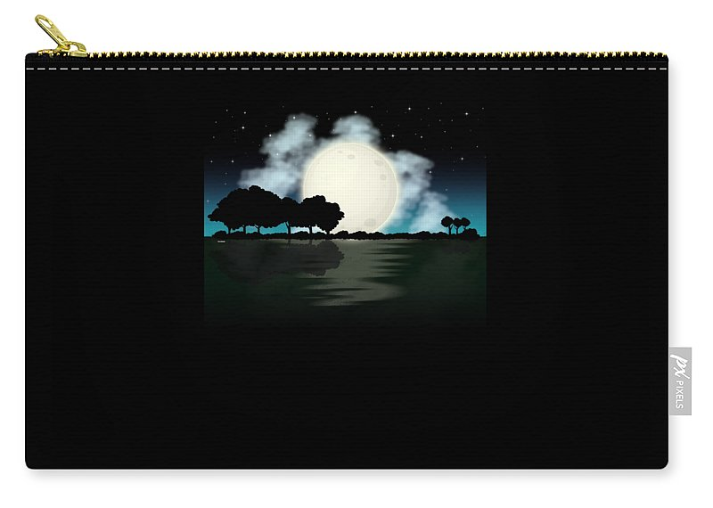 Lake Carry-all Pouch featuring the digital art Awesome Guitar Guitarist Lake Fishing Boating by Thomas Larch