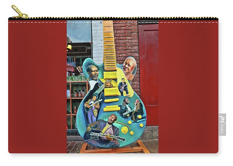 B.b. King Carry-all Pouch featuring the photograph B. B. King Tourist Guitar - Beale Street by Allen Beatty