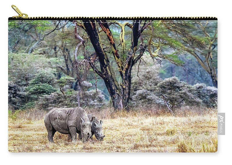 Rhinocerotidae Carry-all Pouch featuring the photograph Baby And Parent White Rhino In Lake Nakuru by Susan Schmitz