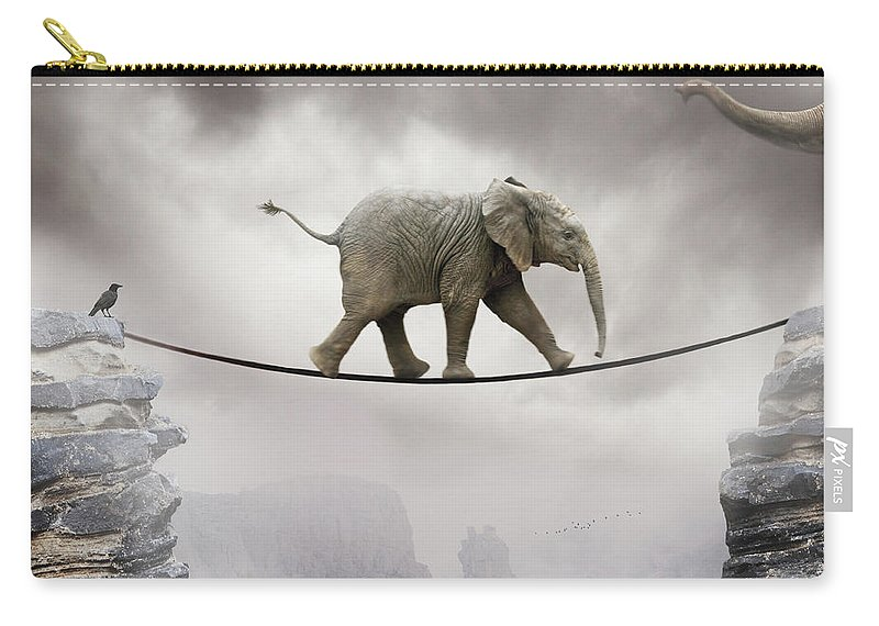 Animal Themes Carry-all Pouch featuring the photograph Baby Elephant by By Sigi Kolbe