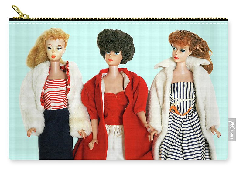 Vintage Carry-all Pouch featuring the photograph Baby It's Cold Outside Barbies by Marilyn Hunt