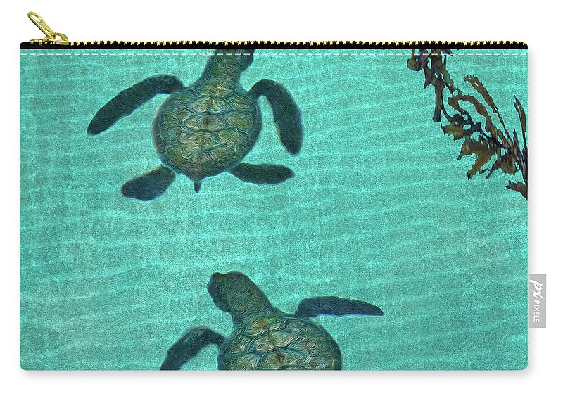 Seaweed Carry-all Pouch featuring the photograph Baby Sea Turtles by Melinda Moore