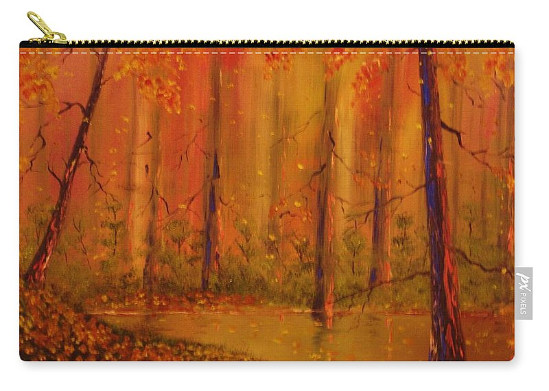 Forest Carry-all Pouch featuring the painting Back Woods by Lorenzo Roberts