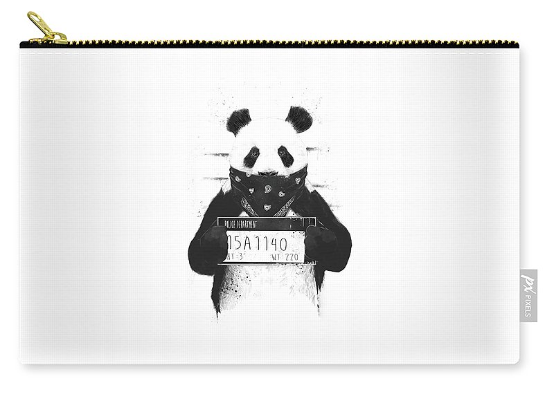 Panda Carry-all Pouch featuring the drawing Bad panda by Balazs Solti