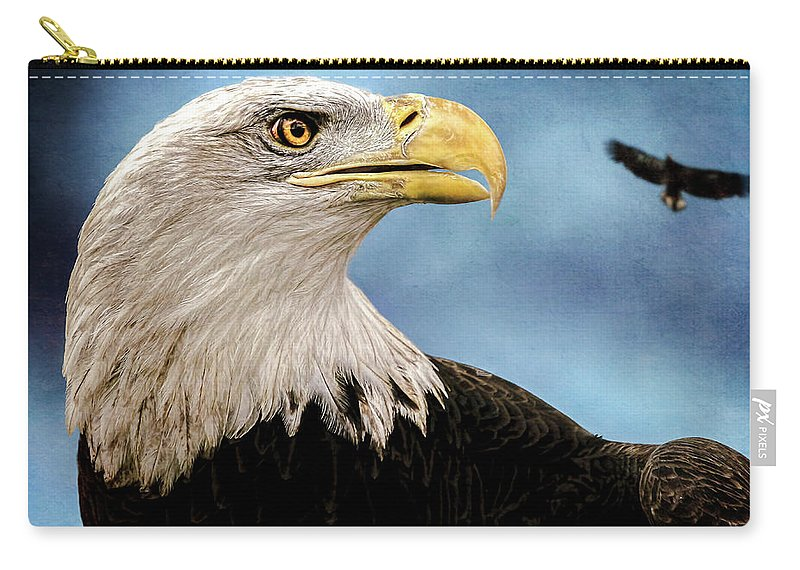 Eagle Carry-all Pouch featuring the photograph Bald Eagle And Fledgling by Bob Orsillo