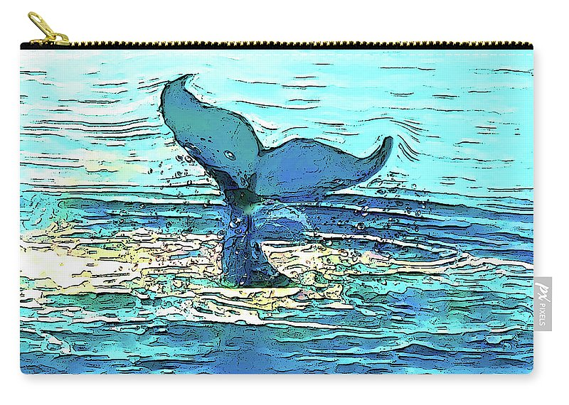 Digital Arts Carry-all Pouch featuring the painting Balene-whales by Maria Rom