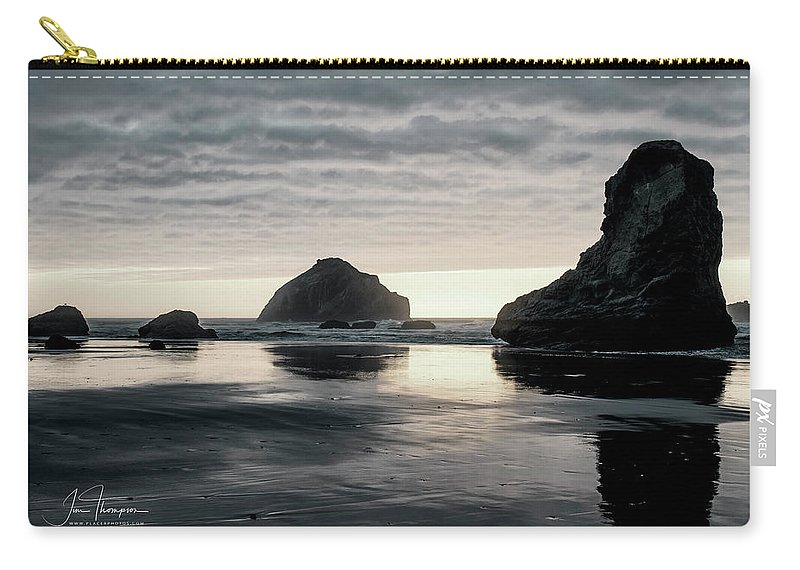 Bandon Beach Carry-all Pouch featuring the photograph Bandon Beach Sunset 1 by Jim Thompson