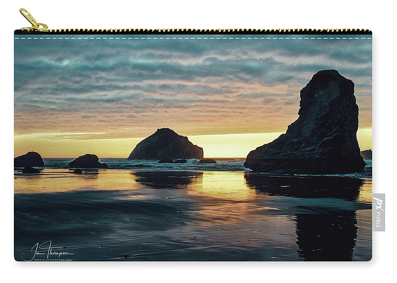 Bandon Beach Carry-all Pouch featuring the photograph Bandon Beach Sunset 2 by Jim Thompson