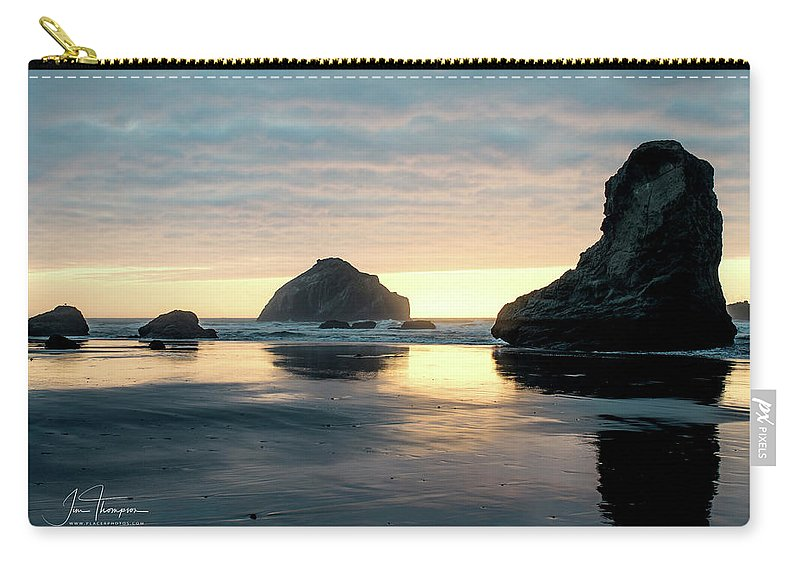 Bandon Beach Carry-all Pouch featuring the photograph Bandon Beach Sunset 3 by Jim Thompson