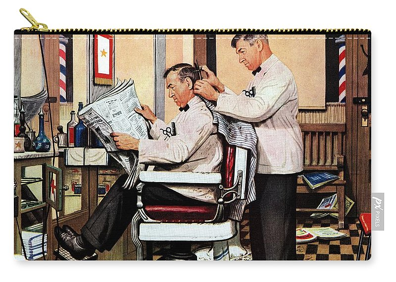 Barbers Carry-all Pouch featuring the drawing Barber Getting Haircut by Stevan Dohanos