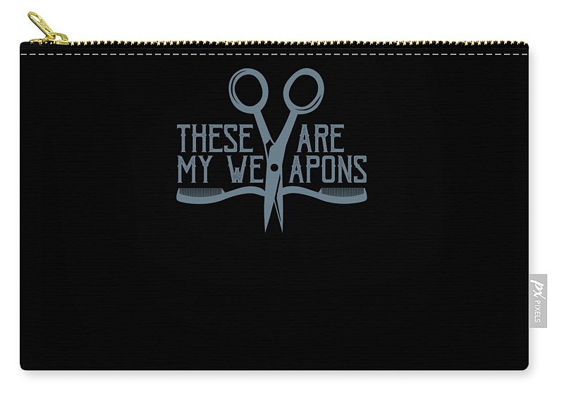 Hairstylist-gift Carry-all Pouch featuring the drawing Barber Hairstylist Hair Dtrsser Scissors Combs Weapons Of Choice by Kanig Designs