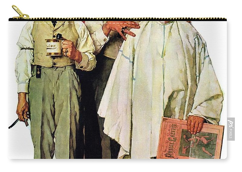 Barbers Carry-all Pouch featuring the drawing Barbershop Quartet by Norman Rockwell