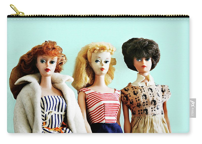 Vintage Carry-all Pouch featuring the photograph Barbies On Blue by Marilyn Hunt
